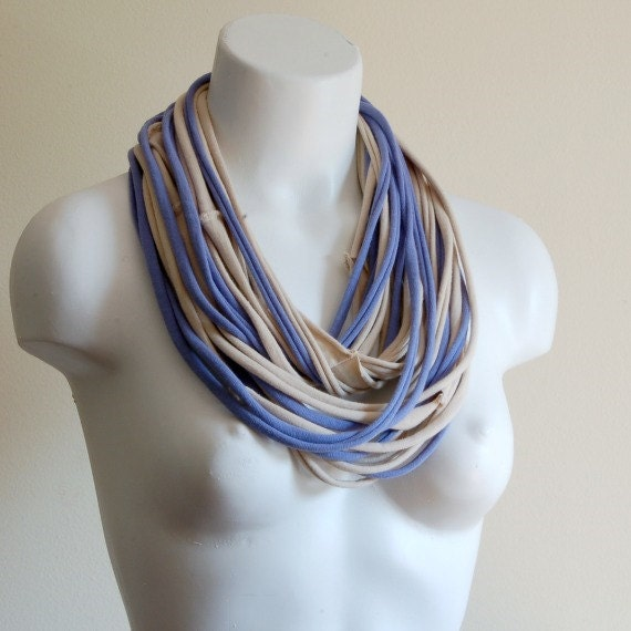 periwinkle infinity scarf fabric necklace