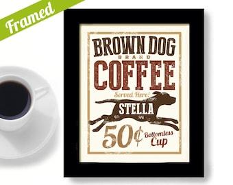 Chocolate Lab Coffee Art Personalized Dog Art Print