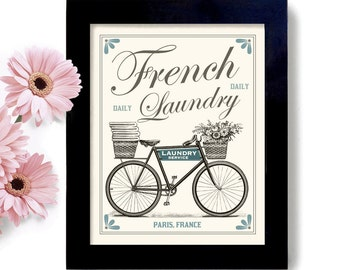 Laundry Room Decor French Country Home Art Sign Bicycle Art Linens and Towels Wall Art Print Laundry Room Art Washing Machine Paris France