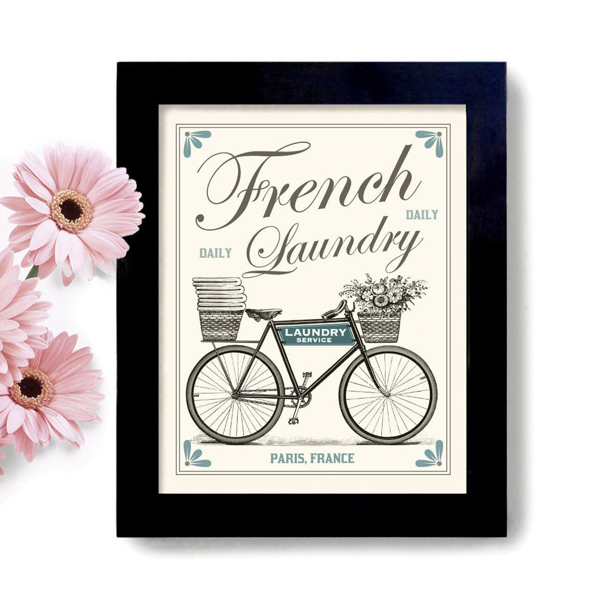 Laundry Room Decor French Country Home Art Sign Bicycle Art