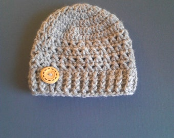 Crochet Beanie Hat, Baby Boy Hat, Baby hat, Crochet Hat With Button