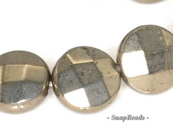 8mm Palazzo Iron Pyrite Gemstone Faceted Flat Round Circle Coin Loose Beads 7.5 inch Half Strand (90145073-410)