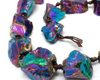 Titanium Rainbow Quartz Gemstone, Rainbow, Rough Edge Rugged Nugget Focal 25X20MM Loose Beads 8 inch Half Strand (90113080-128)