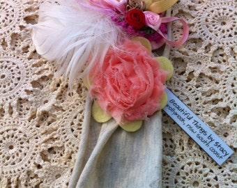 Shabby Chic Pink Peach and Lemon Vintage Inspired Headband