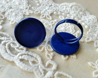 22 mm Copper Adjustable Ring Findings / Blue Color Sprayed (fit for 20 mm buttons) (.hm)