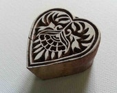 Heart Stamp - Wood Block Printing Hand Carved Indian Style Heart Floral Pattern #2 Small