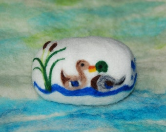Felted Soap Mallard Ducks on Pond Farm Animals Handmade, Fall Decor