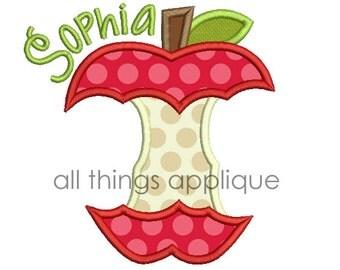 Apple Core Applique Design - 4 Sizes - Instant Download
