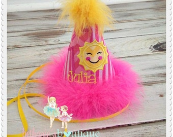 Sunshine birthday hat - little sunshine 1st birthday hat - pink and yellow sunshine themed fabric hat - girls embroidered birthday hat