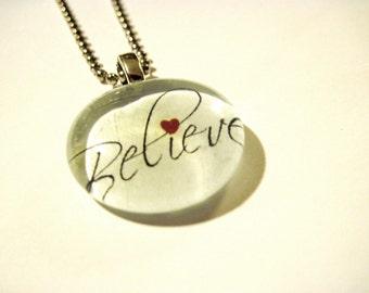 BELIEVE, Pendant, Necklace, Christian Gift, handmade pendant, Glass Pendant, Minimalist