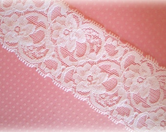 "White Stretch Lace. Wide Stretch Lace. 2"" Width. 2 Yards. SASKIA Lace."