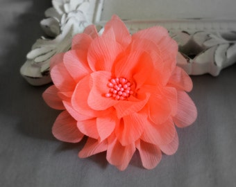 """Neon Coral Chiffon Flower. 4"""" Neon Coral Flower. 1 pc. ISLA Collection."""