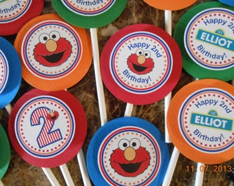 Elmo Cupcake Toppers-Sesame Street Cupcake Toppers-Elmo Birthday Decoration-Sesame Street Birthday Decoration-Elmo Party Decoration-Boy's