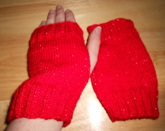 Red sparkly coloured knitted wristwarmers, fingerless gloves, gauntlets