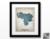 Venezuela Map Art Print - Home Is Where The Heart Is Love Map - Original Custom Map Art Print Available in Multiple Size and Color Options