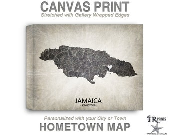 Jamaica Map Stretched Canvas Print - Home Is Where The Heart Is Love Map - Original Personalized Map Print on Canvas