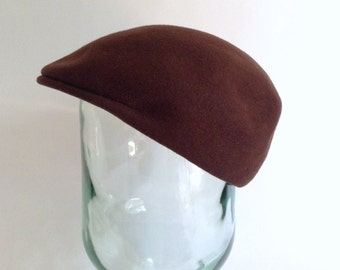 Brown Driving Cap - Golf Hat - Newsie - Dark Chocolate Brown Wool Felt - Made in Italy