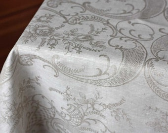 Luxury linen tablecloth Alisse jacquard gray