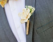 Ivory Gardenia Boutonniere Made to Order- Groom Wedding, Buttonhole, Groomsmen, Sola Flower, Wedding, Wedding Flowers