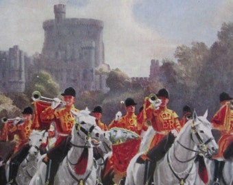 VINTAGE 1950s PONDA wood jigsaw puzzle - boxed, Queen's Household Cavalry, Windsor Castle