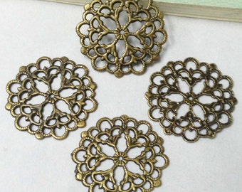 15pcs Antique Bronze Lovely Filigree Flower Charm Pendants Connector 30mm D503-6