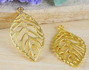 10pcs Gold Plated Filigree Leaf Charm Pendants 27x49mm C505-2