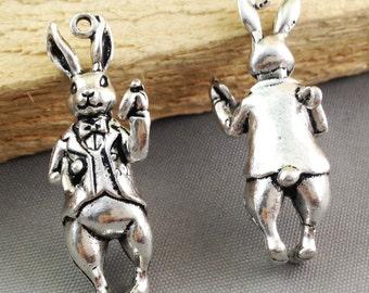 5pcs of Rabbit Charms Antique Silver 3D Bunny Charm Pendants 14x37mm AB302-5