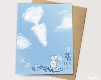 Cloudy Bunny Card -  Rabbit Cloud card, Blank Card, Happy Birthday Bunny Card