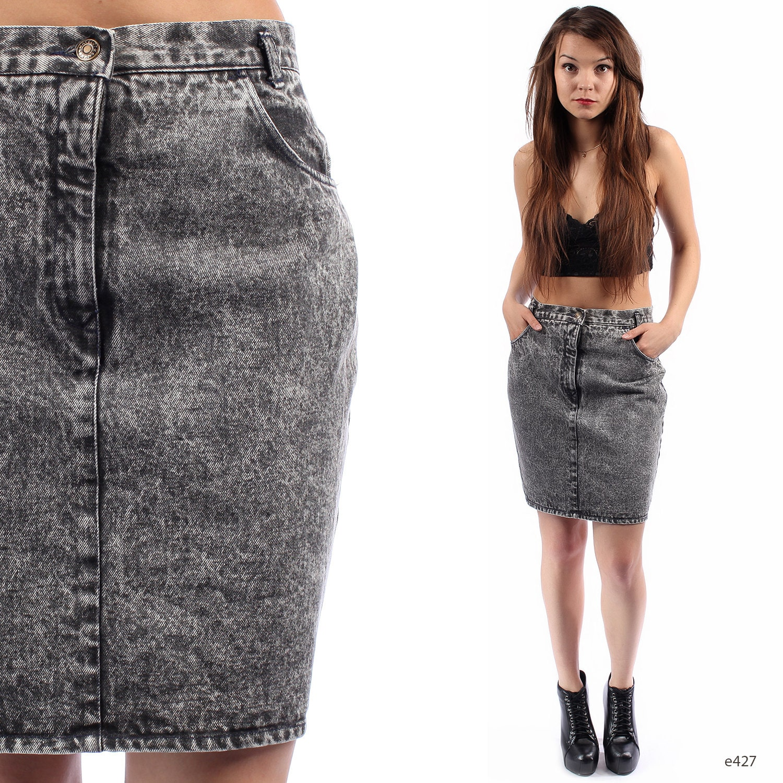 denim pencil skirt acid wash mini high waisted stonewashed