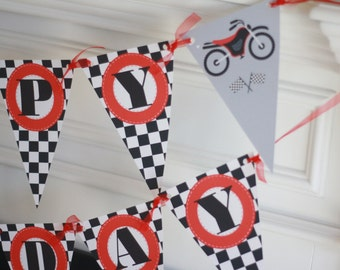 Happy Birthday Pennant Flag Checkered Flag Black Red Motorcycle Motorcross Motor Bike Dirt Bike Party Theme Banner - Party Pack Specials