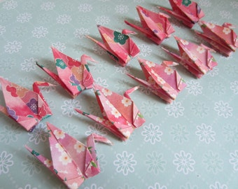 Origami Cranes-12 Japanese Cherry Blossom Chiyogami Paper Cranes