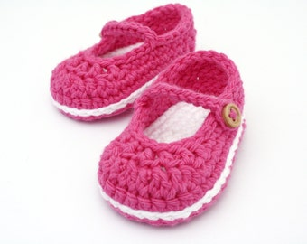 Crochet Baby Booties, Baby Mary Jane shoes, Newborn to 6-9 Months - Made to Order