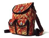 Ethnic Style Backpack - Boho Bag - Exotic Dark Red Backpack