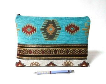 Ethnic Tribal Style Handbag - Makeup Bag - iPad Cover - Large Pouch with Kilim Pattern - Boho Clutch - Turqouise