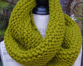 Organic Mobius Chartreuse Cowl - Chunky Knit Infinity Scarf