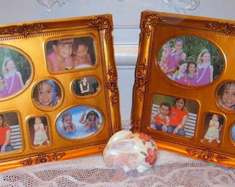 Upcycled, Gold Phots Frames , Two Frames, Ornate,, Easle Back, Gifts,