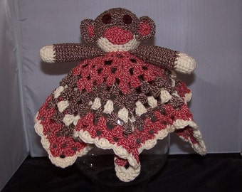 Crocheted Sock Monkey Lovey     Brown and Red