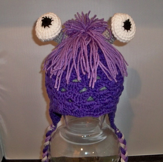 Crocheted Purple Beanie to resemble Boo from Monsters Inc.
