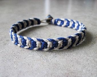 Mens Bracelet, Thick Bracelet, Hemp Bracelet, Dark Blue Bracelet