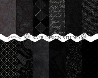 Black Digital Paper:Textured Digital Paper, Black Digital Background Paper, Black Velvet Digital Paper, 12x12 scrapbook paper, #14132