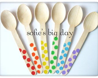 25 Hand Stamped Wooden Spoons, Rainbow Polka Dot Ice Cream Wooden Spoons, Disposable Wooden Spoons, 25 Count