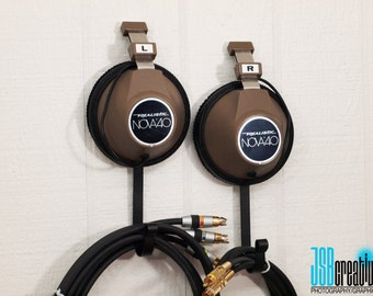 Vintage Headphone Hangers / Wall Hooks - Repurposed Pair of Realistic Nova 40