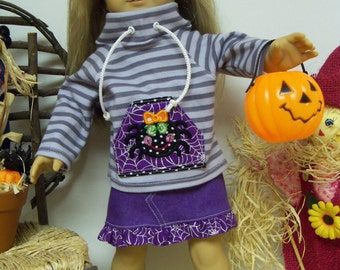 Doll Clothes for 18 Inch Dolls  Fits American Girl  Cowl Neck Spider Top, Denim Skirt, Shoes, Pumpkin Bucket