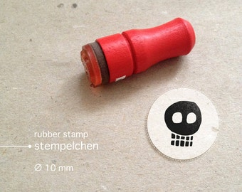 Mini Skull Rubber Stamp