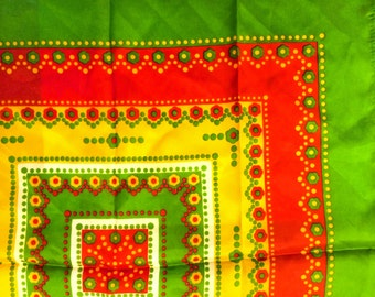 Beautiful & Bright Vintage Women's Red Green Orange Yellow Scarf w/ Floral Dot Pattern