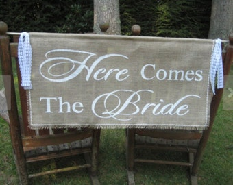 Here Comes The Bride Banner, Burlap Banner, Burlap Wedding, Rustic Wedding, Burlap Here Comes The Bride, Large Burlap Banner