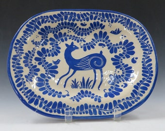 HANDMADE Pottery Sgraffito PLATTER - DEER and Leafy Vines - Oval Blue & White Carved Serving Piece, Customize Color - Use and Display