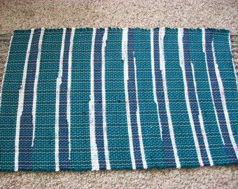 Handmade navy blue green and cream  loom woven rag rug  south dakota made