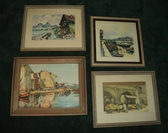 4 Vintage MARC LITHOGRAPH PRINTS, A Collection of Marc aka  (Nicholas Markovitch)  watercolor landscape scenes, framed and ready for display