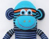 Sock Monkey Doll / Blue, Turquoise, and Orange Stripes / 16 inches